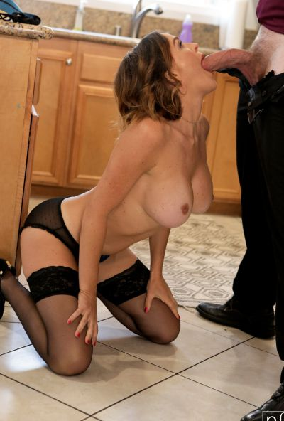 Photo №13 Husband fucked lascivious wife Krissy Lynn in stockings and cum on her chest