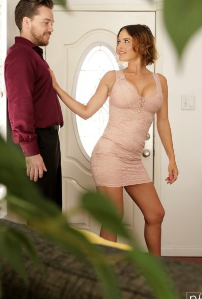 Photo №3 Husband fucked lascivious wife Krissy Lynn in stockings and cum on her chest