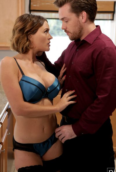 Photo №9 Husband fucked lascivious wife Krissy Lynn in stockings and cum on her chest