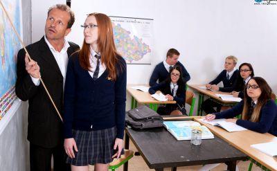 Photo №1 Teacher fucked redhead student Linda Sweet in a classroom
