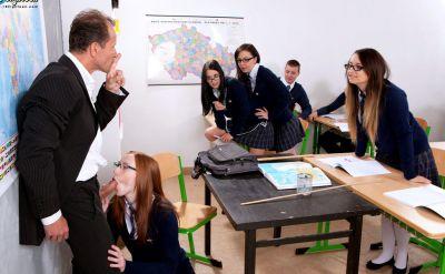 Photo №2 Teacher fucked redhead student Linda Sweet in a classroom