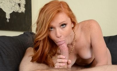 Photo №5 Redhead Alex Tanner skillfully gives blowjob