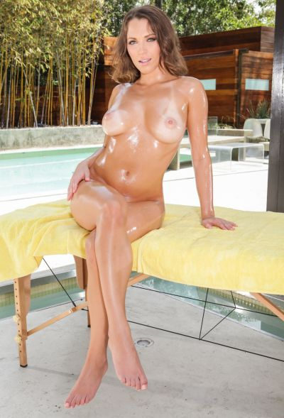 Photo №6 Naked oiled babe Lily Love on massage table