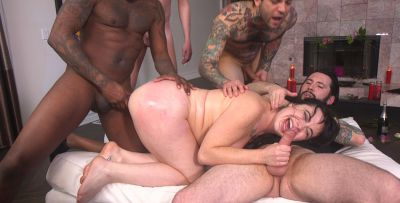 Photo №10 Juicy brunette Siouxsie Q gets pounded hard in all holes by a crowd