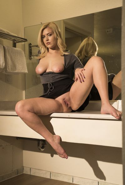 Photo №16 Cute blonde Summer Day bares natural boobs and holes upskirt
