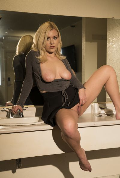 Photo №17 Cute blonde Summer Day bares natural boobs and holes upskirt