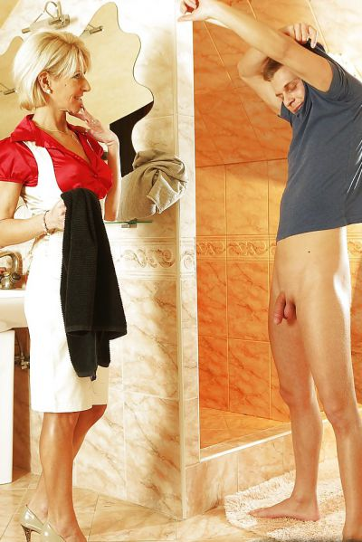 Photo №1 Mature blonde Magda sucks cock of young guy