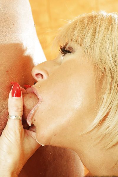 Photo №14 Mature blonde Magda sucks cock of young guy