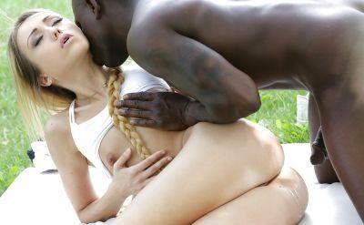 Photo №16 Black guy fucks a beautiful blonde girl in anal