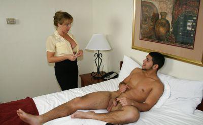 Photo №7 Busty mature girlfriend jerk off a guy's cock