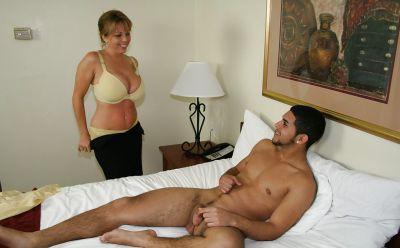 Photo №8 Busty mature girlfriend jerk off a guy's cock