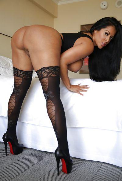 Photo №12 Busty brunette MILF Kiara Mia in stockings