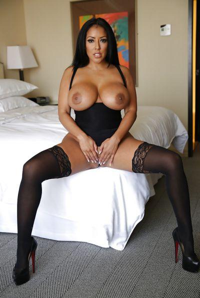 Photo №13 Busty brunette MILF Kiara Mia in stockings