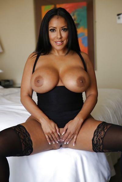 Photo №14 Busty brunette MILF Kiara Mia in stockings