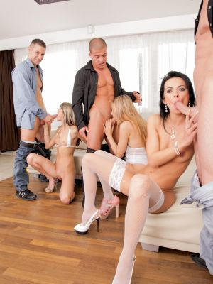 Orgy of six with three girls in white lingerie
