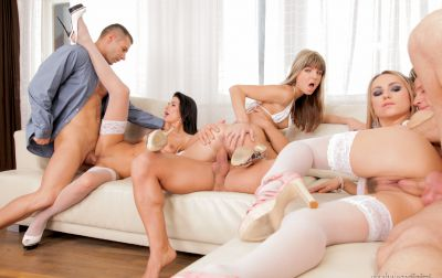 Photo №12 Orgy of six with three girls in white lingerie