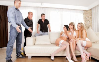 Photo №4 Orgy of six with three girls in white lingerie