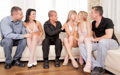 Photo №5 Orgy of six with three girls in white lingerie