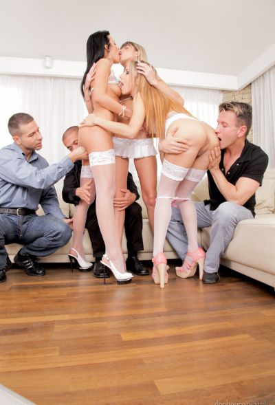 Photo №6 Orgy of six with three girls in white lingerie