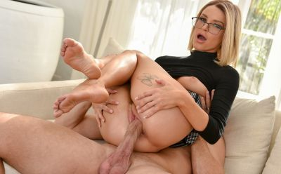 Photo №17 Teacher with glasses Emma Hix jerk off a cock with her feet and took cum on them