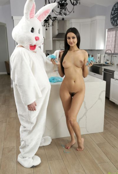 Photo №10 Guy in a bunny costume fucked teen brunette Eliza Ibarra and cum on her hairy pussy in the kitchen