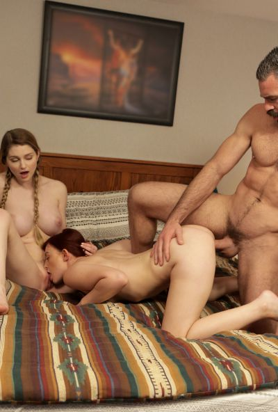 Photo №14 Girlfriend teaches a redhead bride to please her groom in a 3some