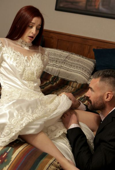 Photo №2 Girlfriend teaches a redhead bride to please her groom in a 3some