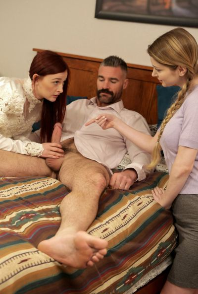 Photo №6 Girlfriend teaches a redhead bride to please her groom in a 3some