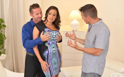 Photo №2 Busty romanian brunette Sensual Jane satisfies two men with huge tits