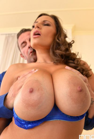Photo №5 Busty romanian brunette Sensual Jane satisfies two men with huge tits