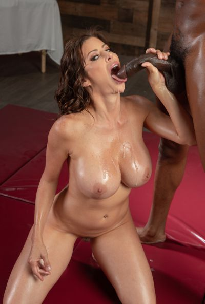 Photo №19 Very sexy MILF in oil Alexis Fawx gets cum in mouth after hard sex with black man