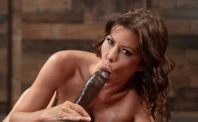 Photo №9 Very sexy MILF in oil Alexis Fawx gets cum in mouth after hard sex with black man