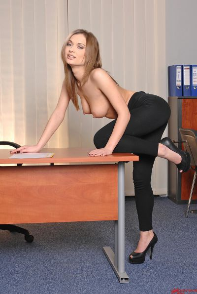 Photo №6 Charming secretary Alice Miller undressed and parted her labia in the office