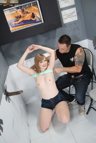 Photo №10 Babe Dolly Leigh took cum on small tits after sucking a gloryhole cock in front of her boyfriend