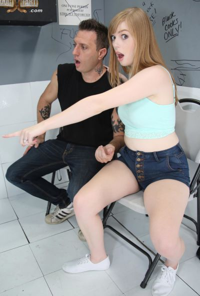 Photo №8 Babe Dolly Leigh took cum on small tits after sucking a gloryhole cock in front of her boyfriend