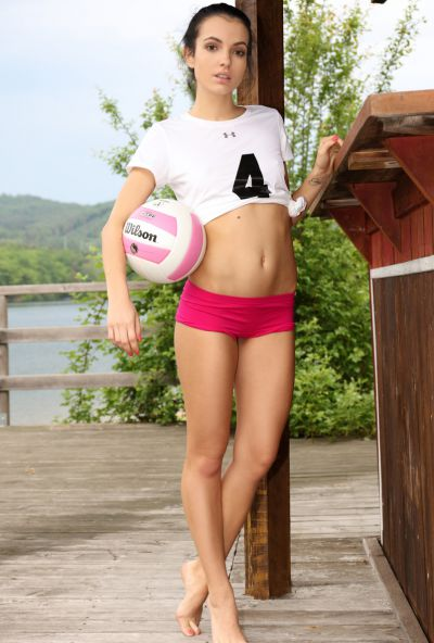 Photo №1 Skinny brunette Sapphira stands doggystyle and spreads her legs wide