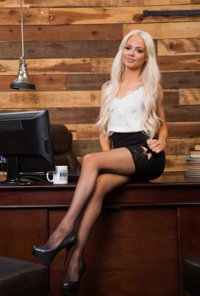 Photo №1 Beautiful petite blonde in stockings Elsa Jean spreads her pussy