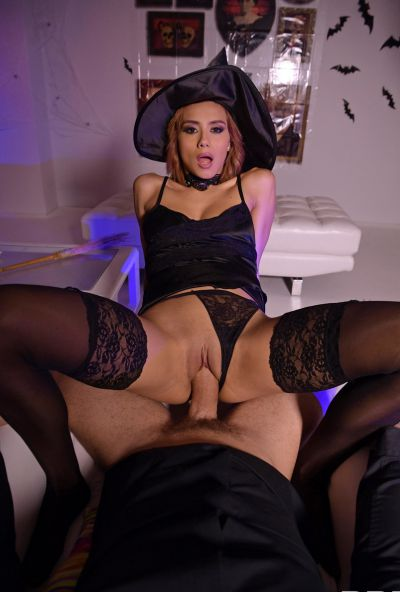 Photo №7 European girl Veronica Leal gets fucked hard in tight anus by fat cock on Halloween