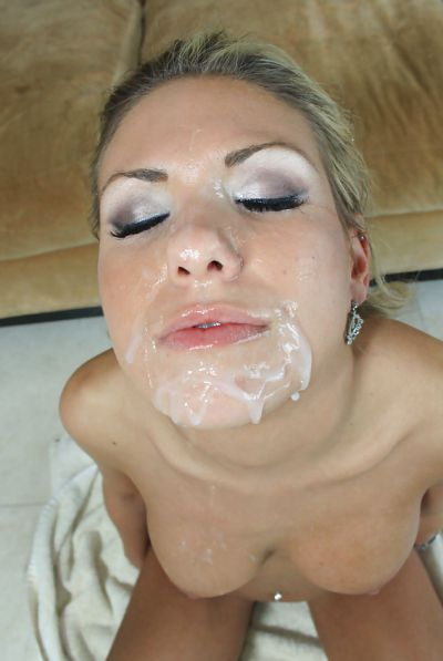 Photo №14 Filled slut face with sperm after blowjob