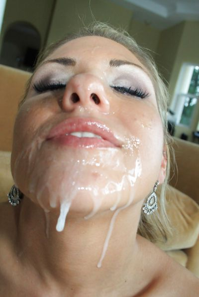 Photo №16 Filled slut face with sperm after blowjob