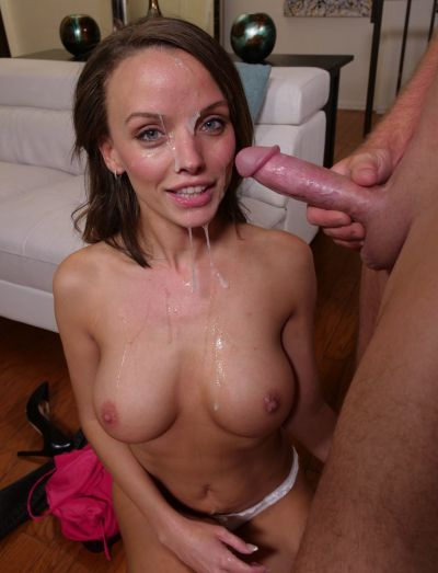 Photo №16 Busty slut Pristine Edge took off her pink dress and received a volley of sperm in her face