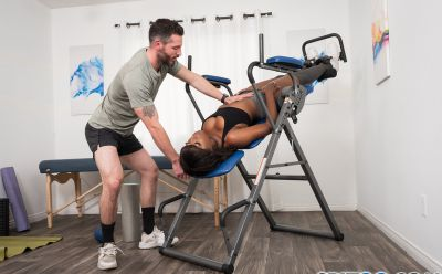 Photo №5 Black girl Daya Knight gets cum on tongue after sex in gym