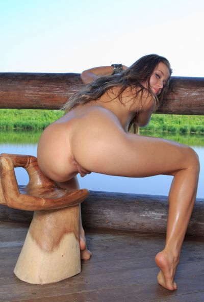 Photo №7 Glamour babe Taissia A shows sweet holes close up outdoor