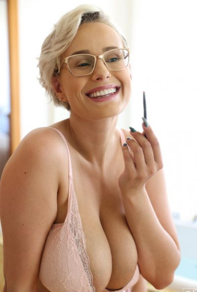 Photo №6 MILF with glasses Angel Wicky jerks off a cock with huge tits and gets cum on them