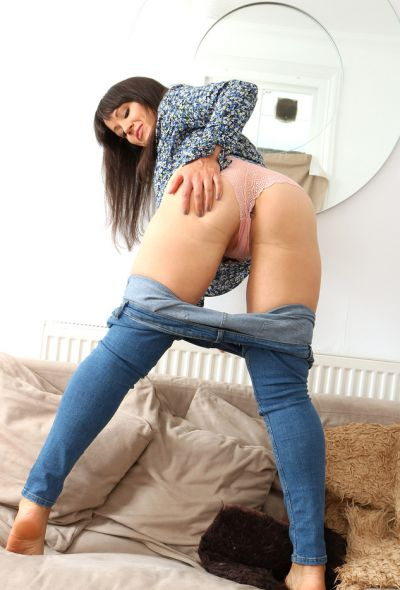 Photo №4 Brunette Lucy Love showed pussy and big ass after stripping