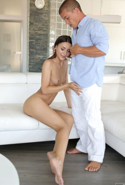 Photo №8 Brunette model Alexis Brill had sex with a muscular guy and got cum in her mouth