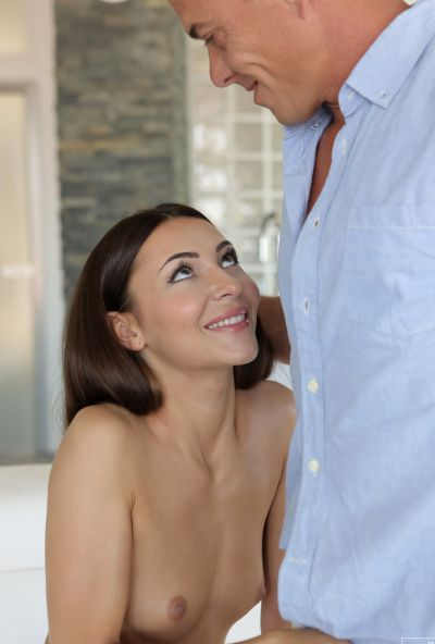 Photo №9 Brunette model Alexis Brill had sex with a muscular guy and got cum in her mouth