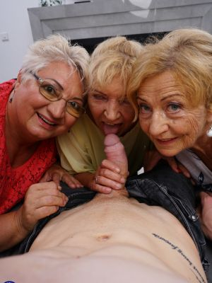 Three grandmas fuck a young male