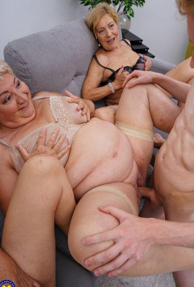 Photo №12 Three grandmas fuck a young male