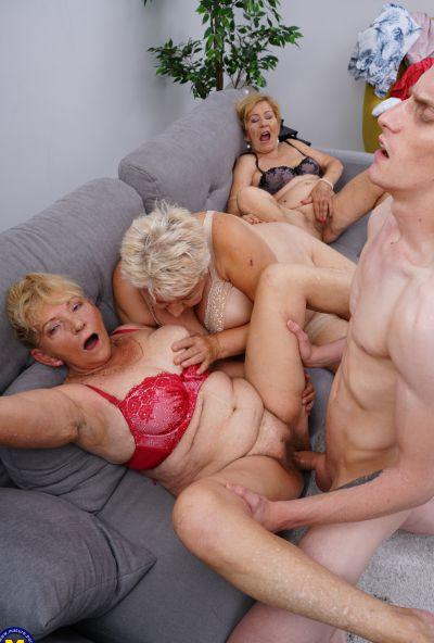 Photo №13 Three grandmas fuck a young male